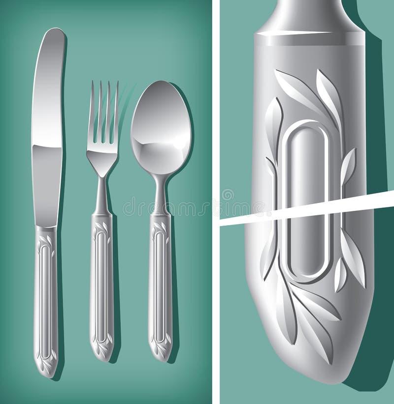 Faca de colher de prata, de forquilha e de tabela | Mundo do vetor ilustração stock
