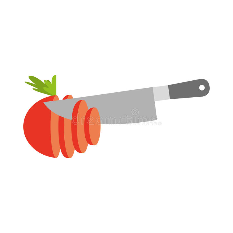Faca de cozinha com tomate ilustração royalty free
