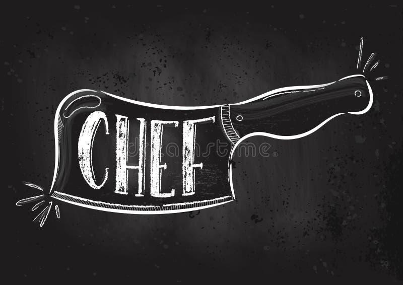 Faca do cozinheiro chefe do vetor ilustração do vetor