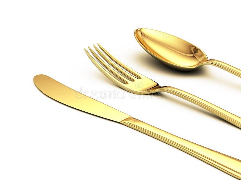 Faca do ouro, forquilha, colher ilustração do vetor