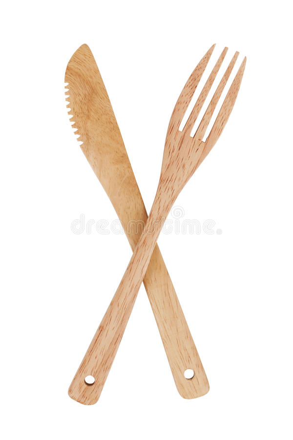 Faca e forquilha de madeira foto de stock