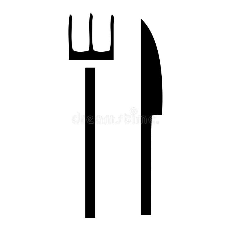 faca e forquilha lisas do s?mbolo ilustração do vetor