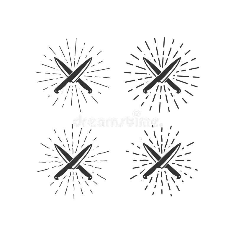 Faca e ilustrações sunburst ilustração do vetor