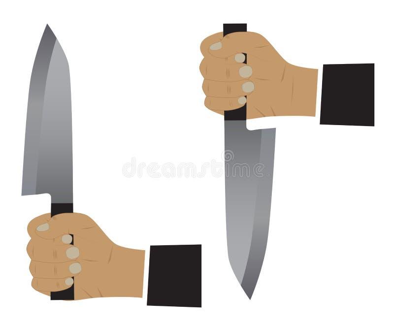 Faca em uma mão ilustração do vetor