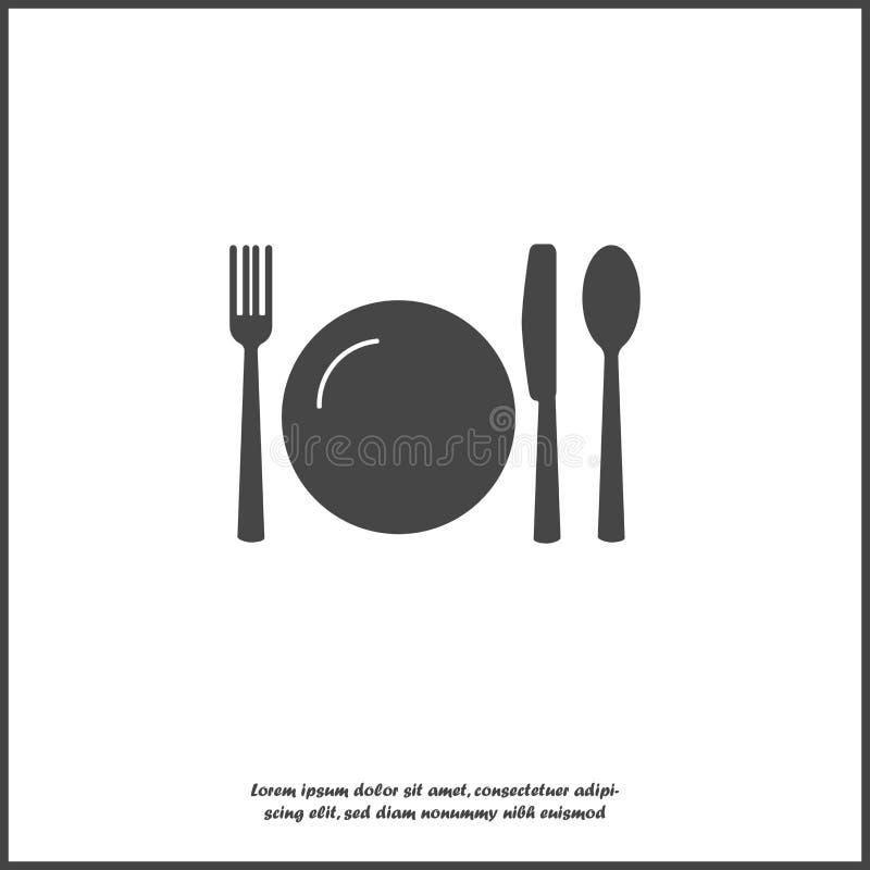 Faca, forquilha, colher e placa cutlery Ajuste da tabela no fundo isolado branco Camadas agrupadas para a ilustração fácil da edi ilustração stock