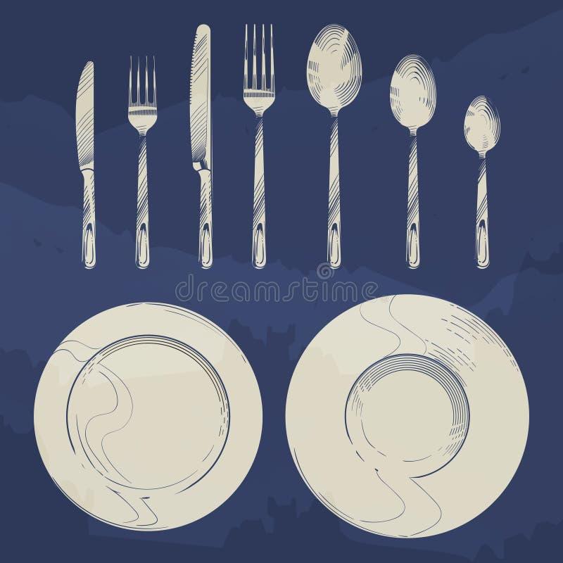 Faca, forquilha, colher e pratos do vintage no estilo da gravura do esboço cenografia da cutelaria ilustração royalty free