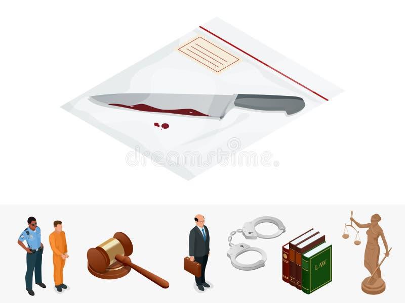 Faca isométrica, evidência em um pacote transparente Investigação da cena do crime que recolhe a evidência Ilustração do vetor ilustração royalty free