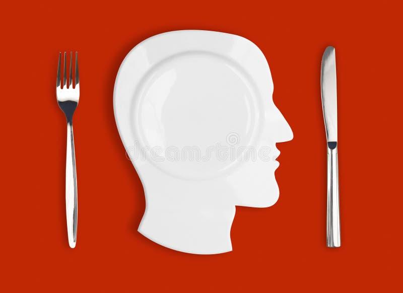 Faca, placa do cérebro e forquilha no fundo vermelho ilustração stock