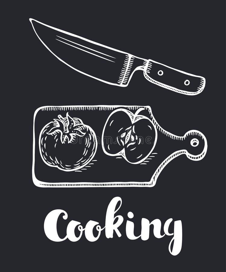 A faca que desbasta o projeto do vegetal 3d com grupo do pimentão da cebola da paprika do tomate no fundo branco isolou a ilustra ilustração royalty free