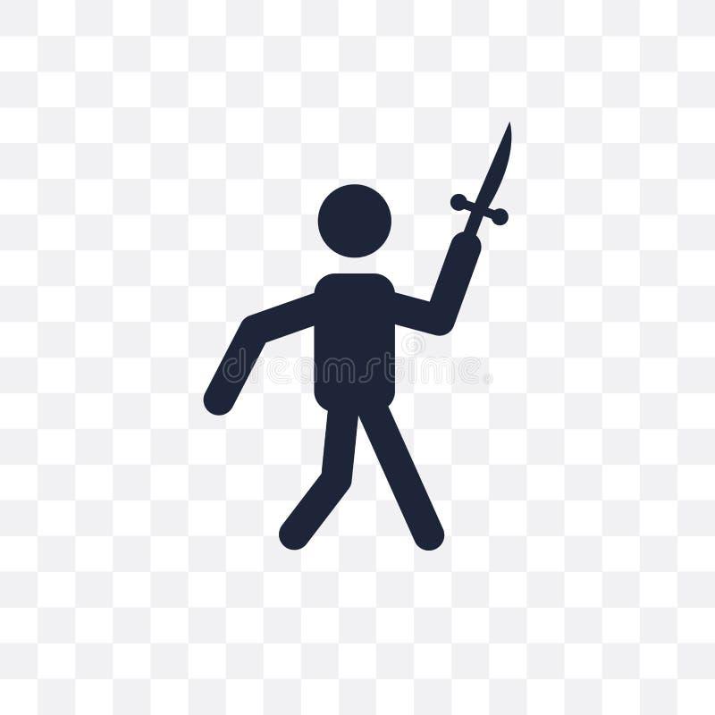 Faca que joga o ícone transparente Projeto de jogo franco do símbolo da faca ilustração stock