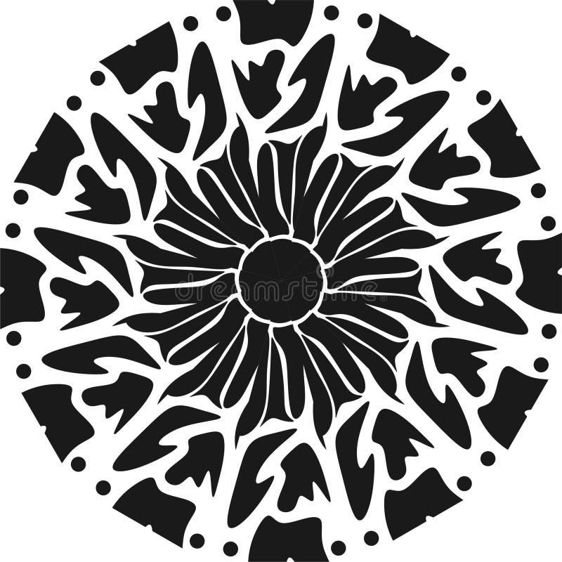Faca redonda do projeto, cortador preto e branco e faca, tocando na arte ilustração stock