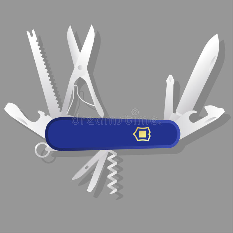Faca suíça azul, multi-ferramenta azul ilustração do vetor
