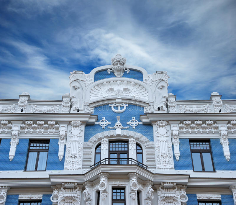 Facade. Fragment of Art Nouveau style (Jugenstil). The architect is M. Eisenstein, Riga, Latvia royalty free stock photography