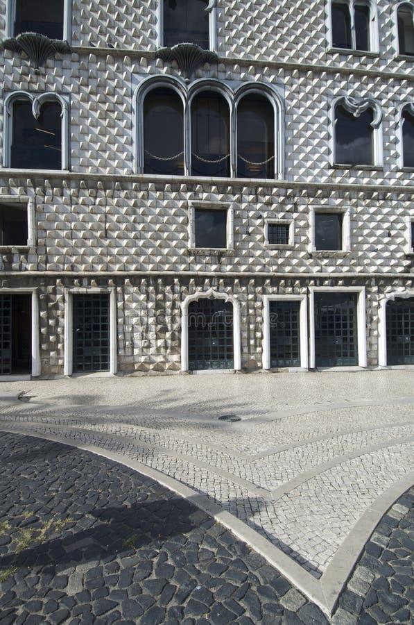 Facade. House of Diamond-shaped Spikes, Casa dos Bicos, in Lisbon, Portugal royalty free stock photos