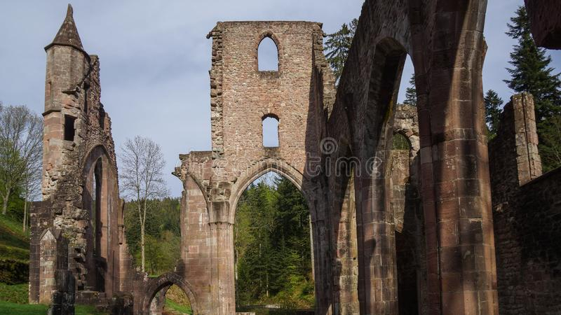 Facade of abbey ruin in black forest royalty free stock photos