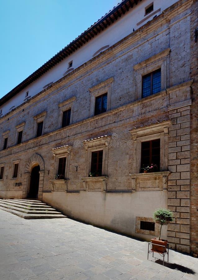 Accademia europea di Palazzo Ricci, Montepulciano, Tuscany, Italy. Facade of the Accademia europea di Palazzo Ricci or the Europäische Akademie für Musik stock image