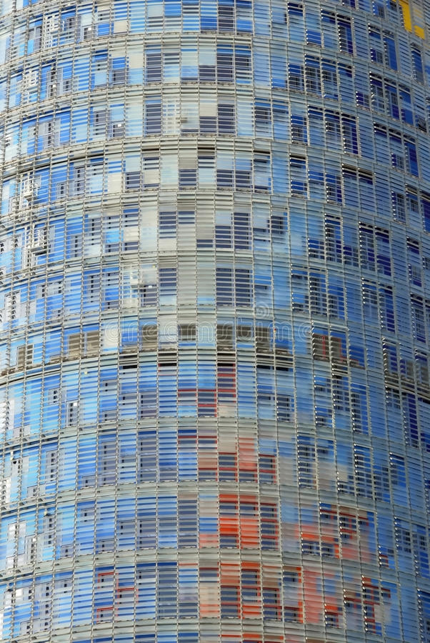 Facade of Agbar tower. Modern building in the financial district of Barcelona. Catalunya. Spain stock image