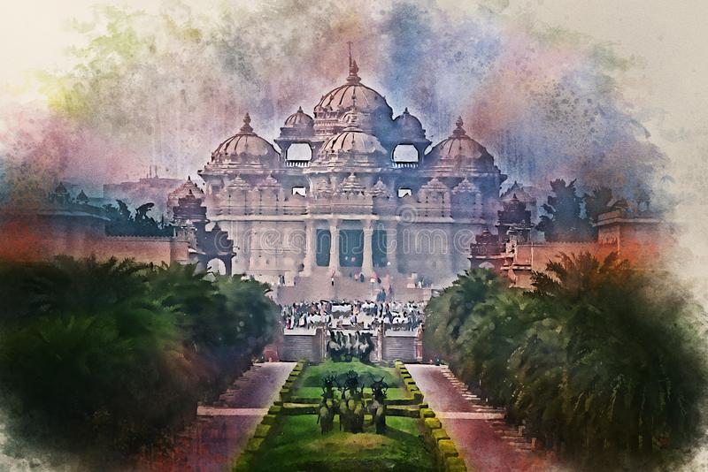 Watercolor painting of facade of a temple Akshardham in Delhi, India royalty free illustration