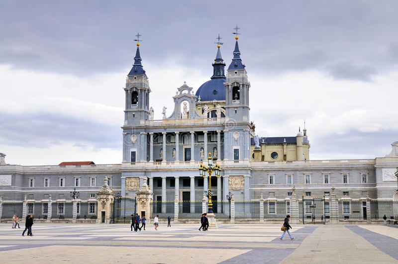 Facade of Almuneda Cathedral, Madrid stock photo