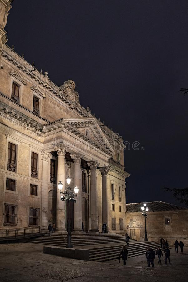 Facade of the ancient building of Philology Faculty of public Sa stock photography