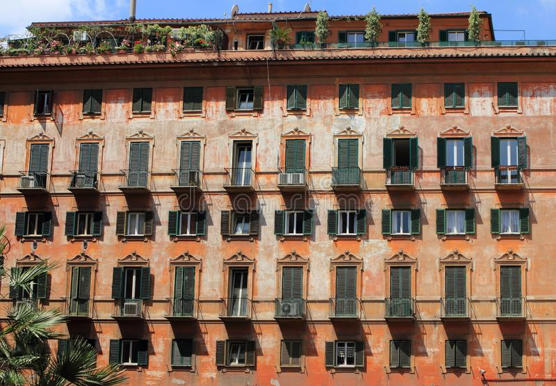 Facade of an ancient building in Rome. royalty free stock images