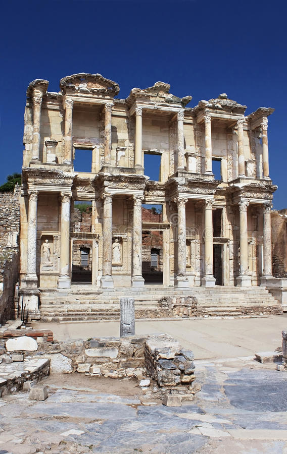 Download Facade Of Ancient Celsius Library In Ephesus Stock Photo - Image: 25217228