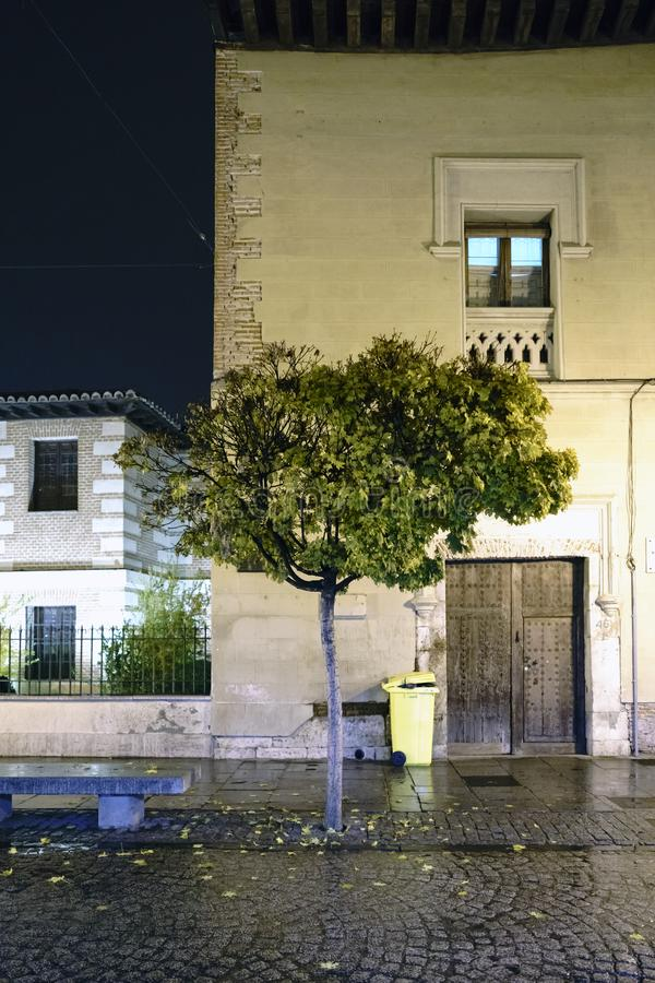Facade of an ancient church with a tree in front located in the royalty free stock photo