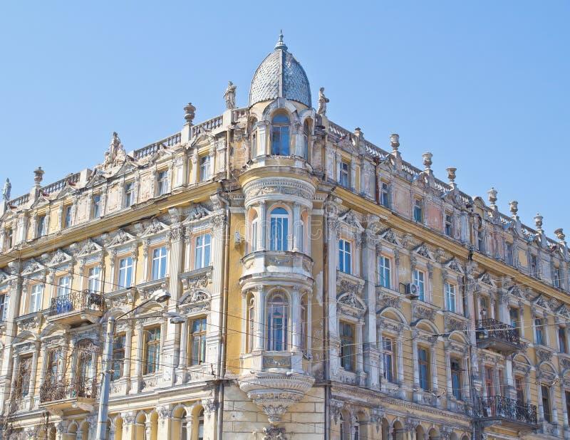 Facade of antique building in Odessa stock photography
