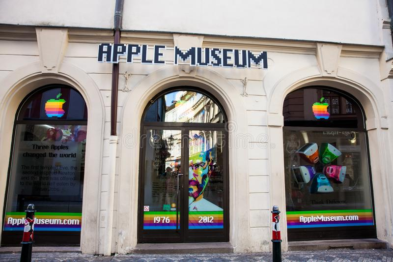 Facade of the Apple Museum at the Old Town in Prague. PRAGUE, CZECH REPUBLIC - APRIL, 2018: Facade of the Apple Museum at the Old Town in Prague royalty free stock photography
