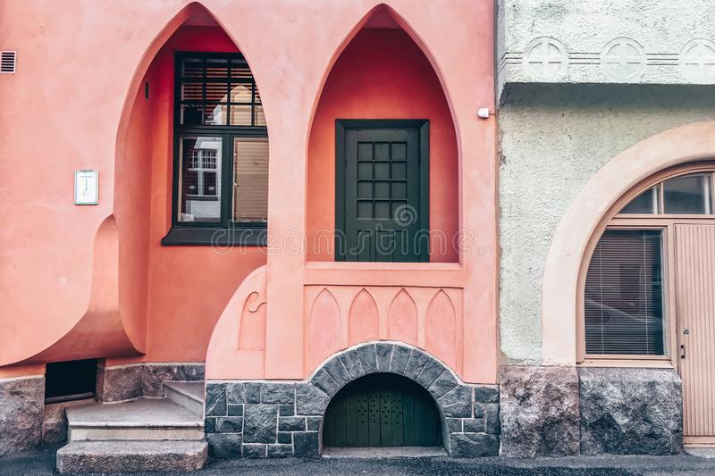Pink arch facade of a classic Jugendstil building, Helsinki - Finland royalty free stock image