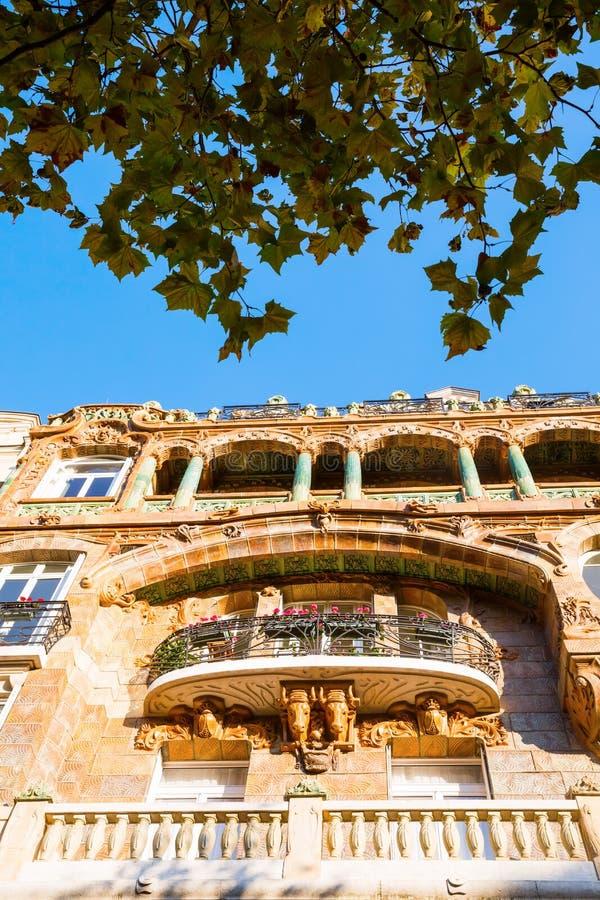 Facade of an Art Nouveau building in Paris. France stock photos