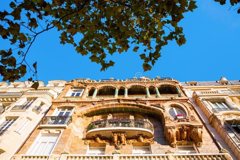 Facade of an Art Nouveau building in Paris. France stock photography