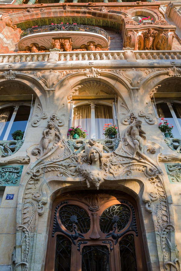 facade of an art nouveau building in paris editorial photography