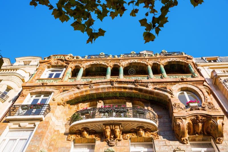 Facade of an Art Nouveau building in Paris. France stock photo