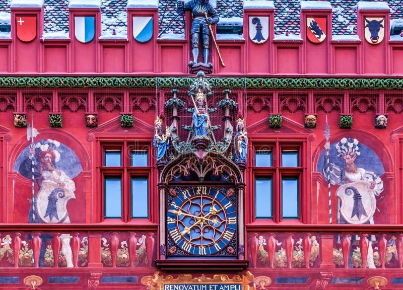 Facade av Rathaus, Basel, Schweitz arkivbild