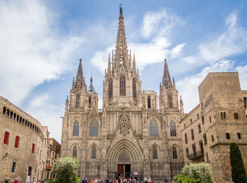 Download Facade Of Barcelona Gothic Cathedral In Spain Editorial Photo