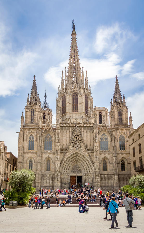 Facade of Barcelona gothic cathedral, in Spain royalty free stock photos