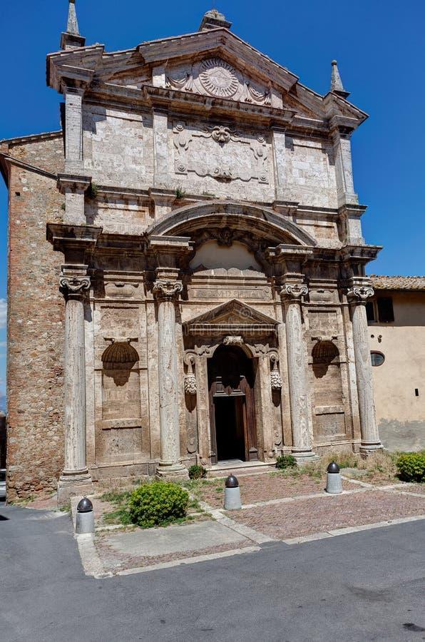 Facade church Santa Lucia Montepulciano, Siena, Toscana, Tuscany, Italy, Italia. Facade of the baroque church Santa Lucia by Flaminio del Turco in Montepulciano royalty free stock photo
