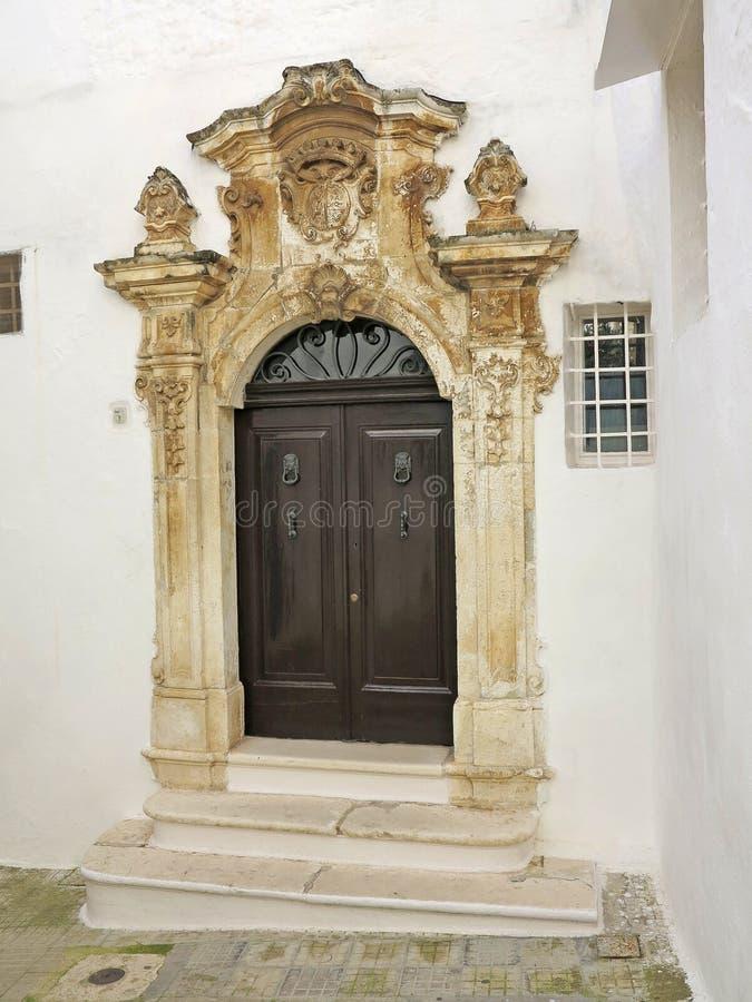 facade of a baroque house in Ostuni, Puglia, Italy stock photo