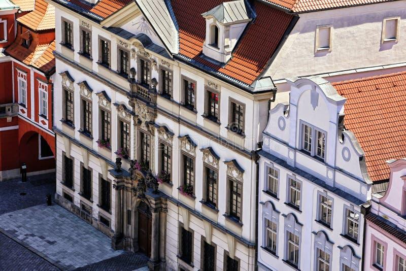 Facade of baroque palaces of Hradec Kralove from above. Facade of baroque palaces and houses of Hradec Kralove from above royalty free stock photography