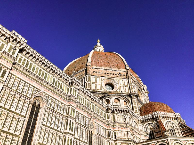 Facade of the Basilica di Santa Maria del Fiore located in Florence, Italy. Cathedral of Saint Mary of the Flower. Dedicated to th royalty free stock images
