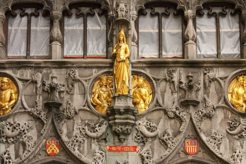 Facade. Basilica of the Holy Blood. Bruges. Belgium. Detail of the facade. Basilica of the Holy Blood in Burg square. Bruges. Belgium stock image