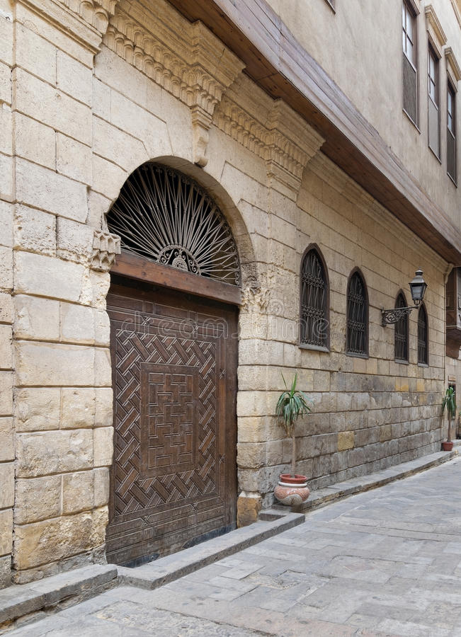 Facade of Bayt Al-Suhaymi, historic old house, Cairo, Egypt. View from Darb Asfour Lane showing part of the facade of Bayt Al-Suhaymi, an old Ottoman era house royalty free stock image