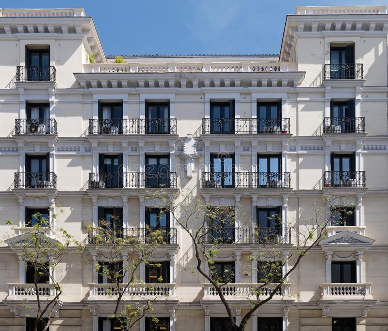 Old Apartment Building: Old Apartment Building In Madrid Stock Photo