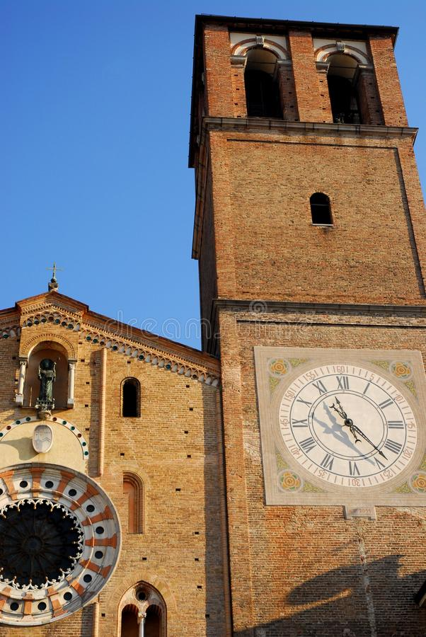 Facade and bell tower of the Cathedral Basilica of the Virgin assumed into the city center in Lodi in Lombardy (Italy royalty free stock images