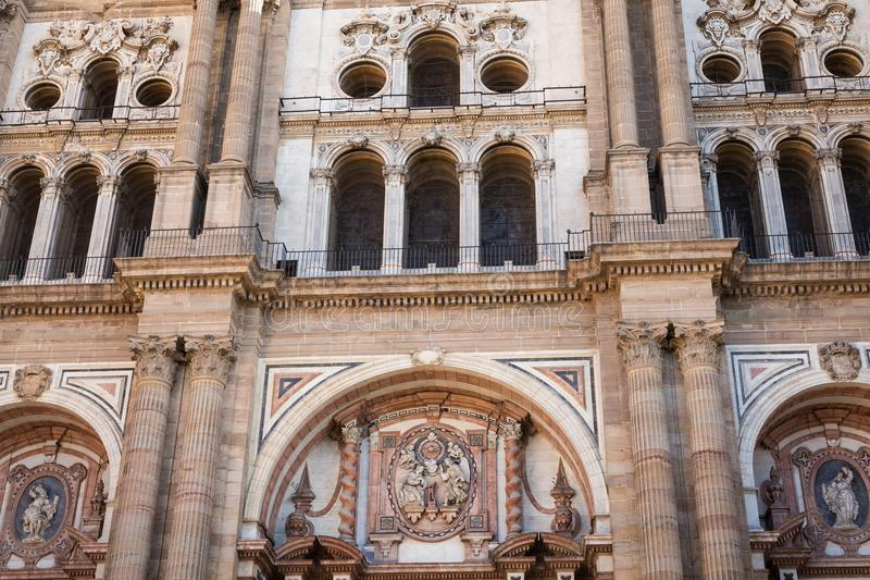 Facade of Bell tower of the Cathedral of the Incarnation in Malaga, Spain stock photography