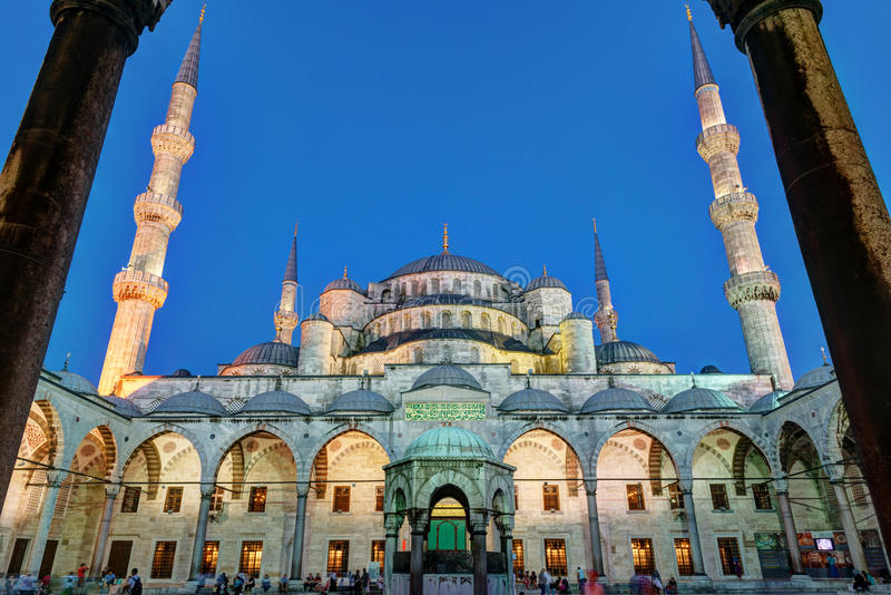 Facade Blue Mosque at night in Istanbul, Turkey stock photo