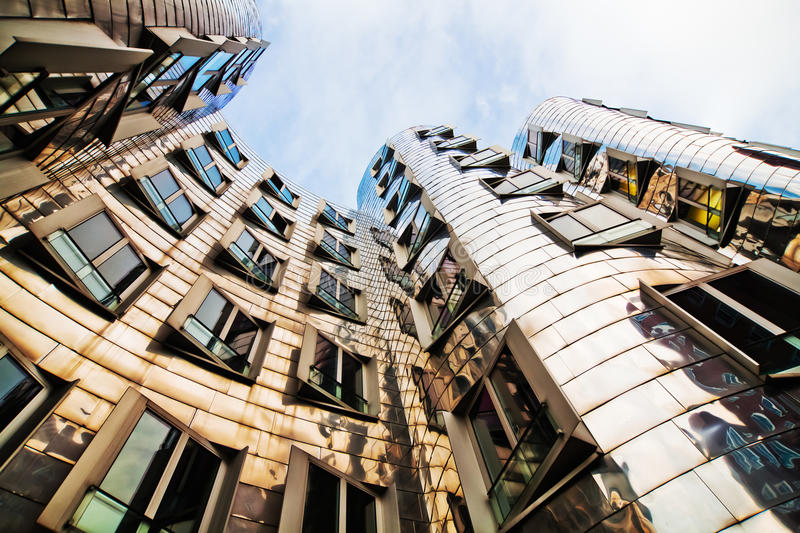 Facade of a building from architect Frank Gehry. Futuristic facade of a building from world renown architect Frank Gehry, in Düsseldorf, Germany royalty free stock image