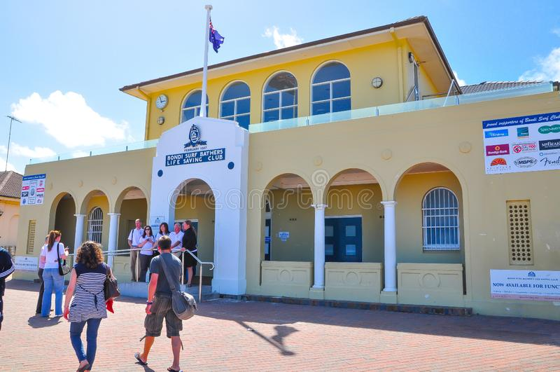 The facade building of Bondi surf bathers life saving club, is Australia`s oldest Surf Life Saving Club, founded in 1907. royalty free stock image