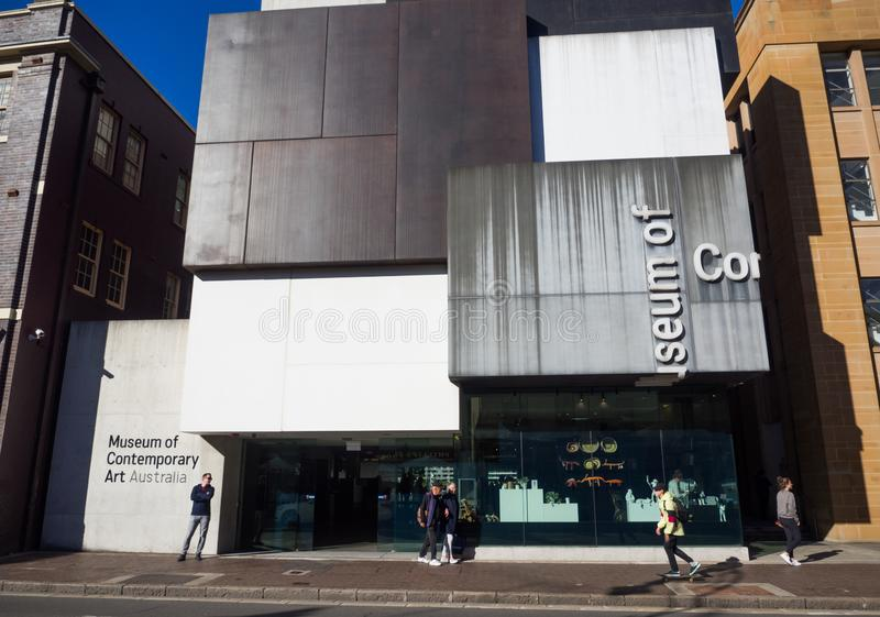 The facade building of The Museum of Contemporary Art Australia MCA is Australia`s leading museum dedicated to exhibiting. SYDNEY, AUSTRALIA. On May 6, 2019 stock photography